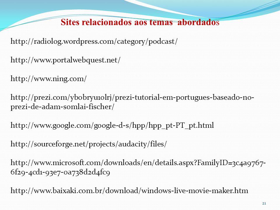 Sites relacionados aos temas abordados
