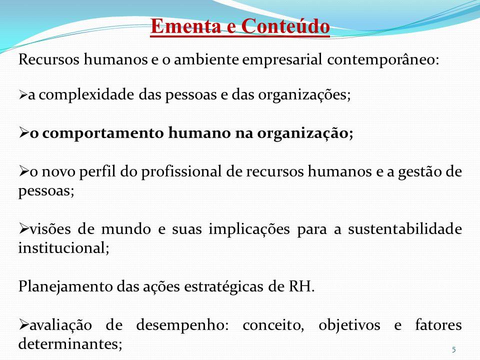 Ementa e Conteúdo Recursos humanos e o ambiente empresarial contemporâneo: a complexidade das pessoas e das organizações;