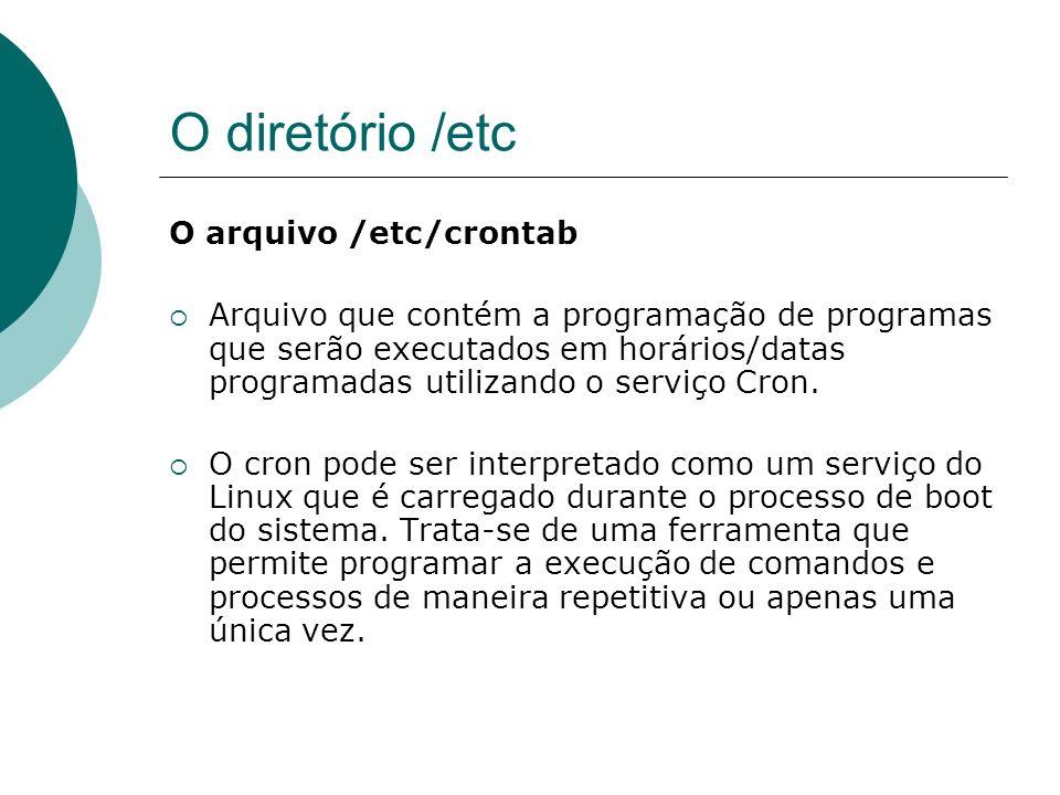 O diretório /etc O arquivo /etc/crontab