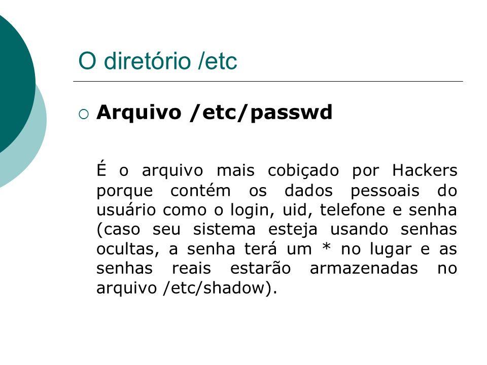 O diretório /etc Arquivo /etc/passwd