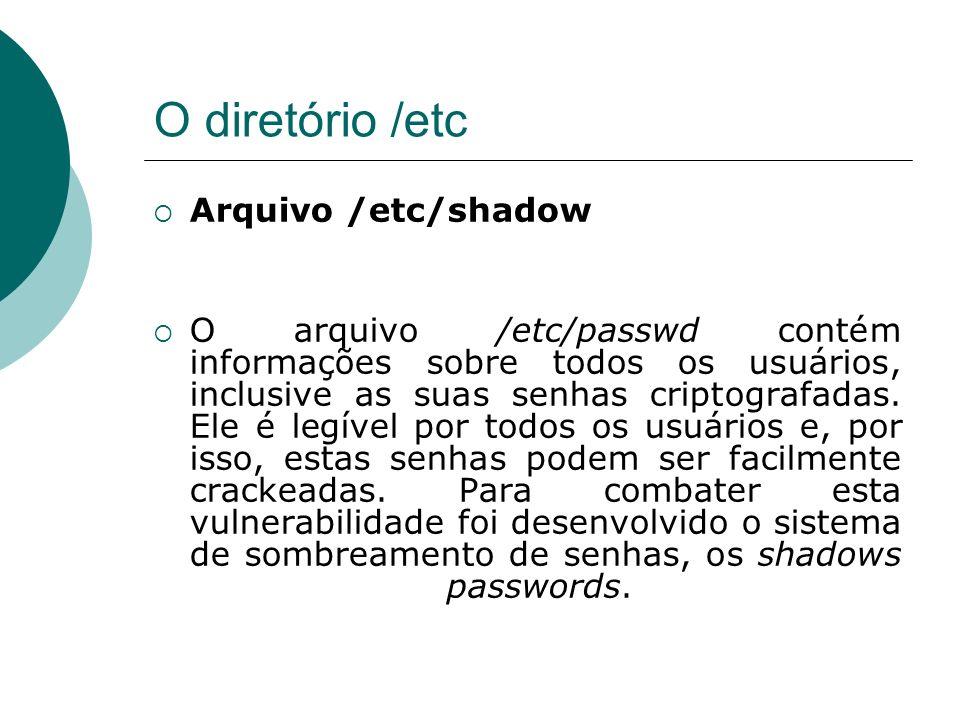 O diretório /etc Arquivo /etc/shadow
