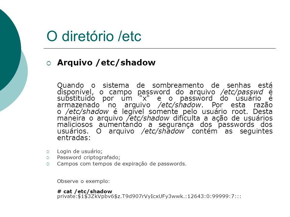 O diretório /etc Arquivo /etc/shadow Login de usuário;