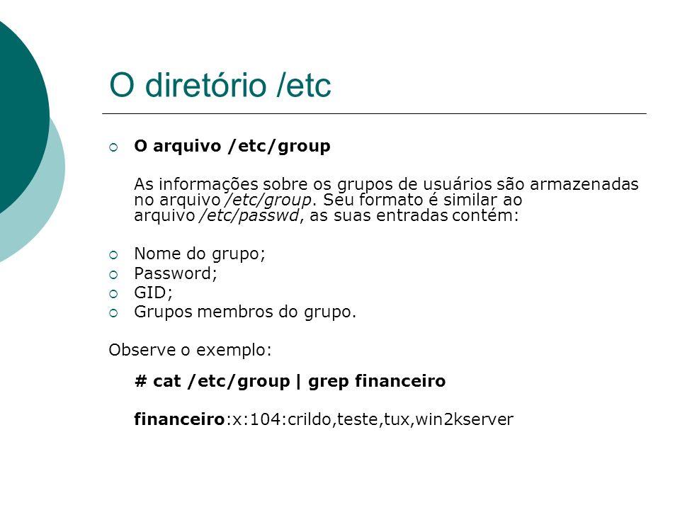 O diretório /etc O arquivo /etc/group