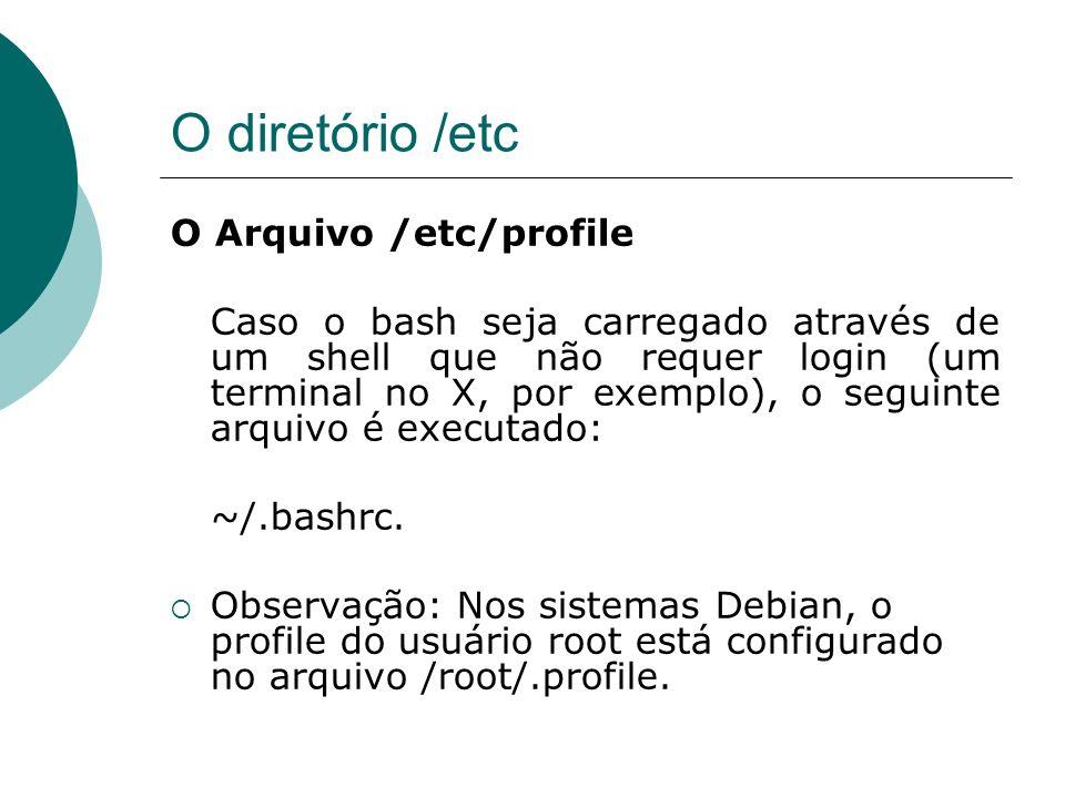 O diretório /etc O Arquivo /etc/profile
