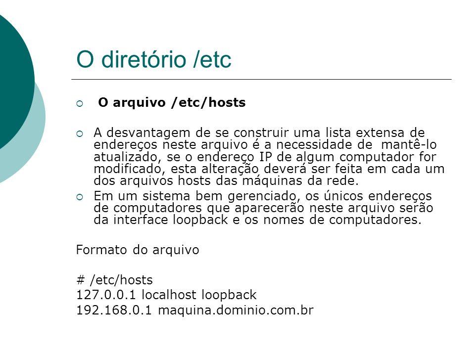 O diretório /etc O arquivo /etc/hosts