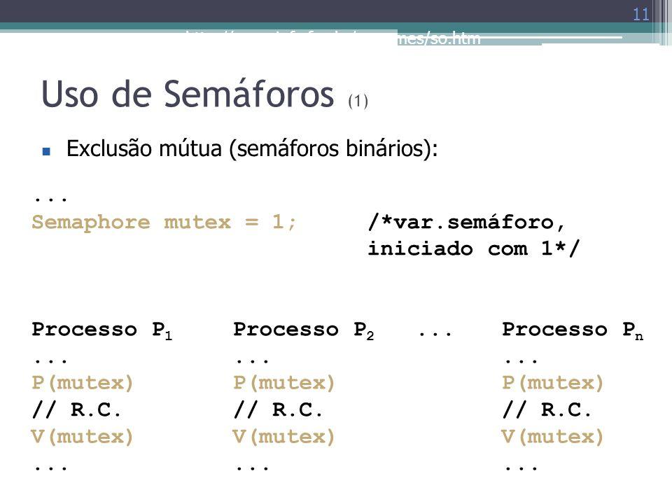 Uso de Semáforos (1) Exclusão mútua (semáforos binários): ...