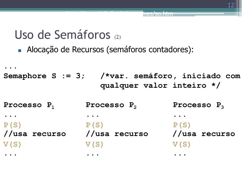 Uso de Semáforos (2) Alocação de Recursos (semáforos contadores): ...