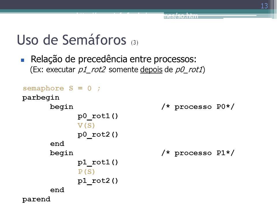 Uso de Semáforos (3) Relação de precedência entre processos: