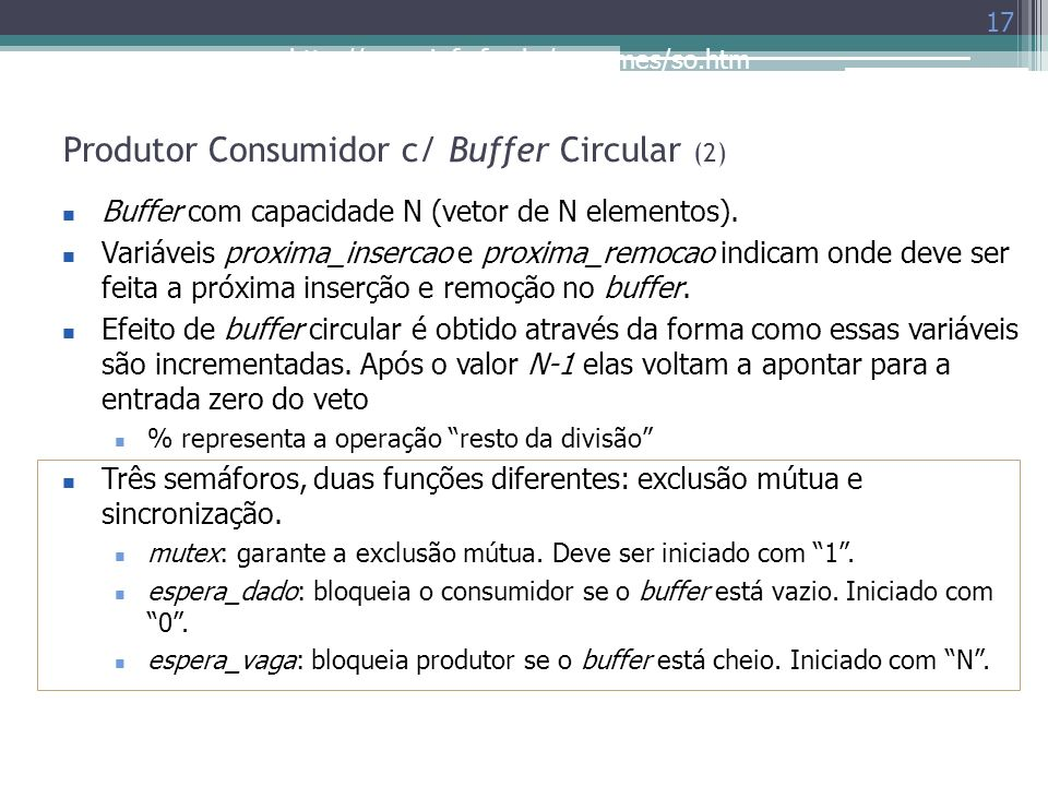 Produtor Consumidor c/ Buffer Circular (2)