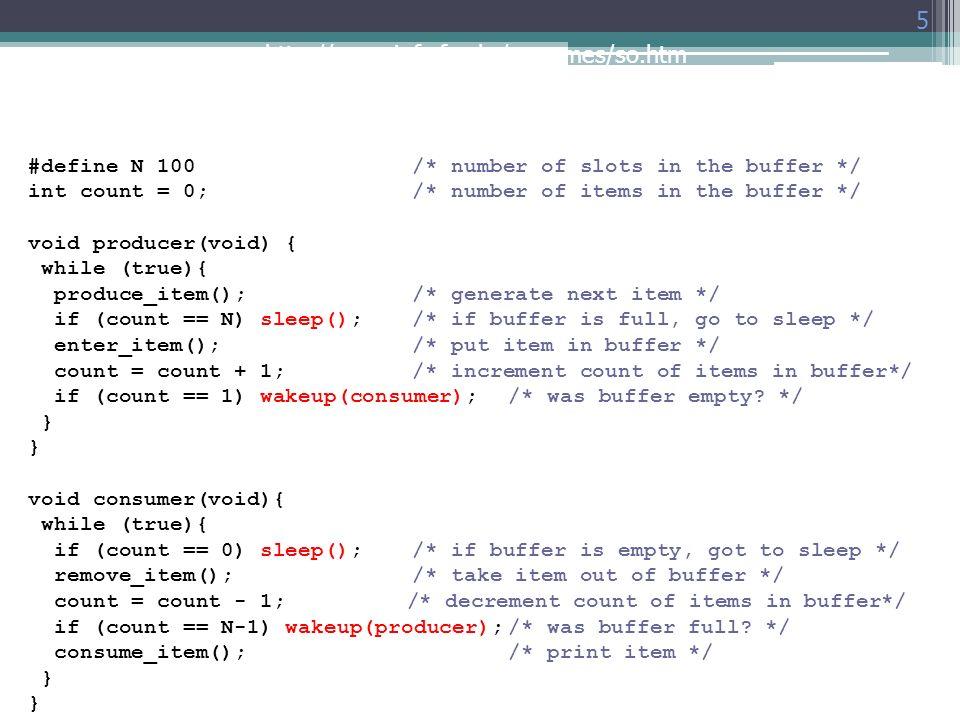 #define N 100 /* number of slots in the buffer */