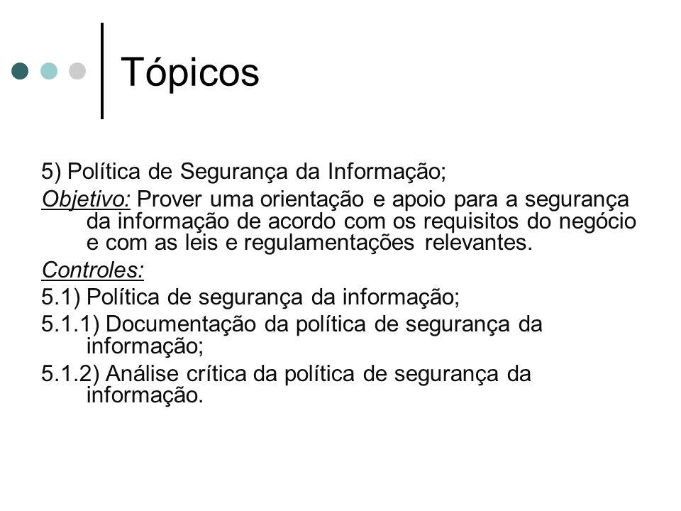 Tópicos 5) Política de Segurança da Informação;