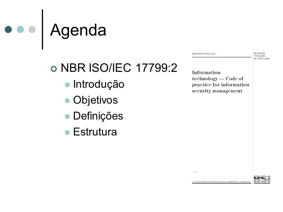Agenda NBR ISO/IEC 17799:2005 Introdução Objetivos Definições