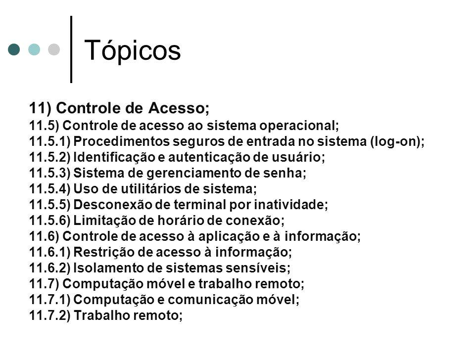 Tópicos 11) Controle de Acesso;