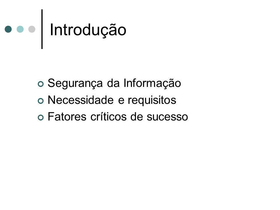 Introdução Segurança da Informação Necessidade e requisitos