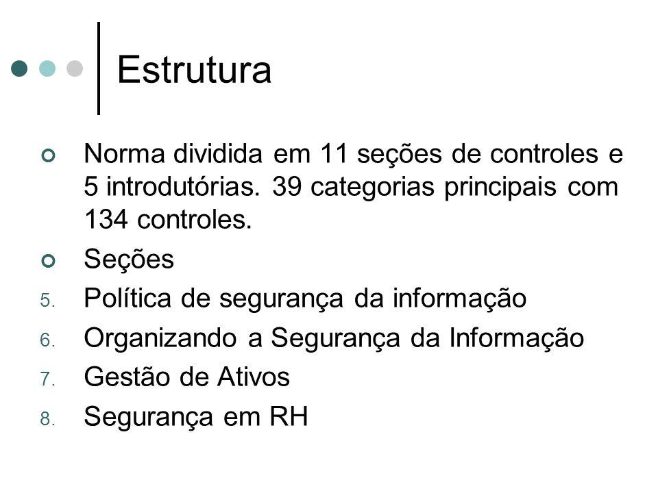 Estrutura Norma dividida em 11 seções de controles e 5 introdutórias. 39 categorias principais com 134 controles.