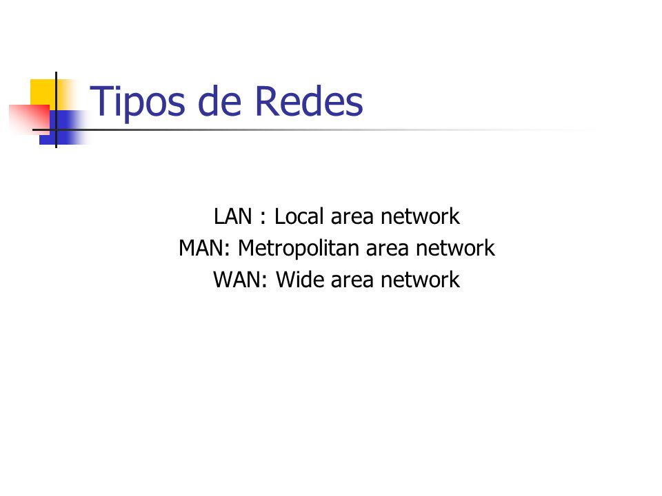 Tipos de Redes LAN : Local area network MAN: Metropolitan area network
