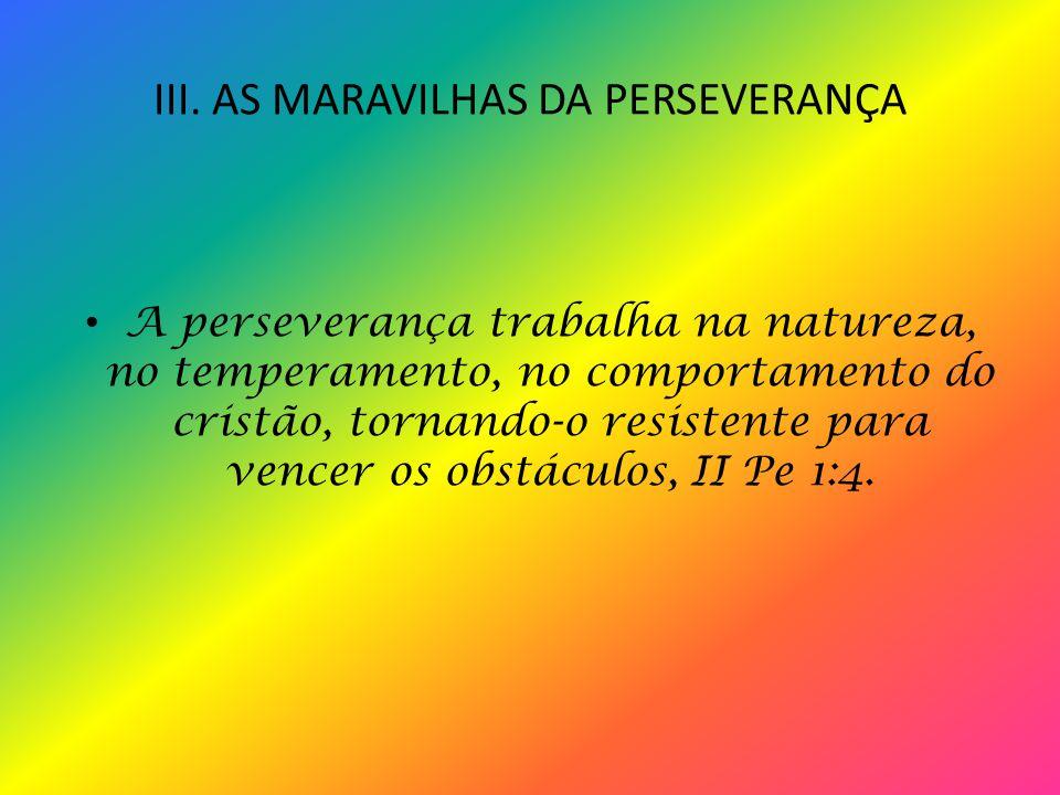 III. AS MARAVILHAS DA PERSEVERANÇA