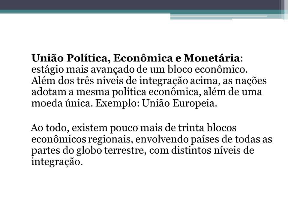 União Política, Econômica e Monetária: estágio mais avançado de um bloco econômico.