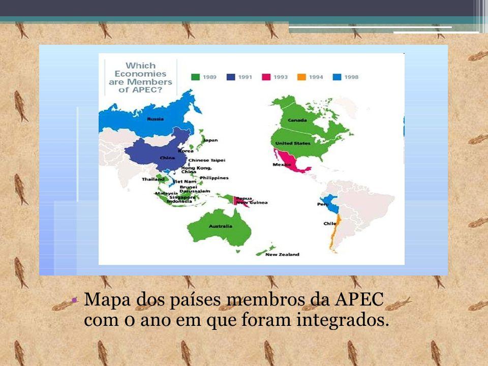 Mapa dos países membros da APEC com 0 ano em que foram integrados.