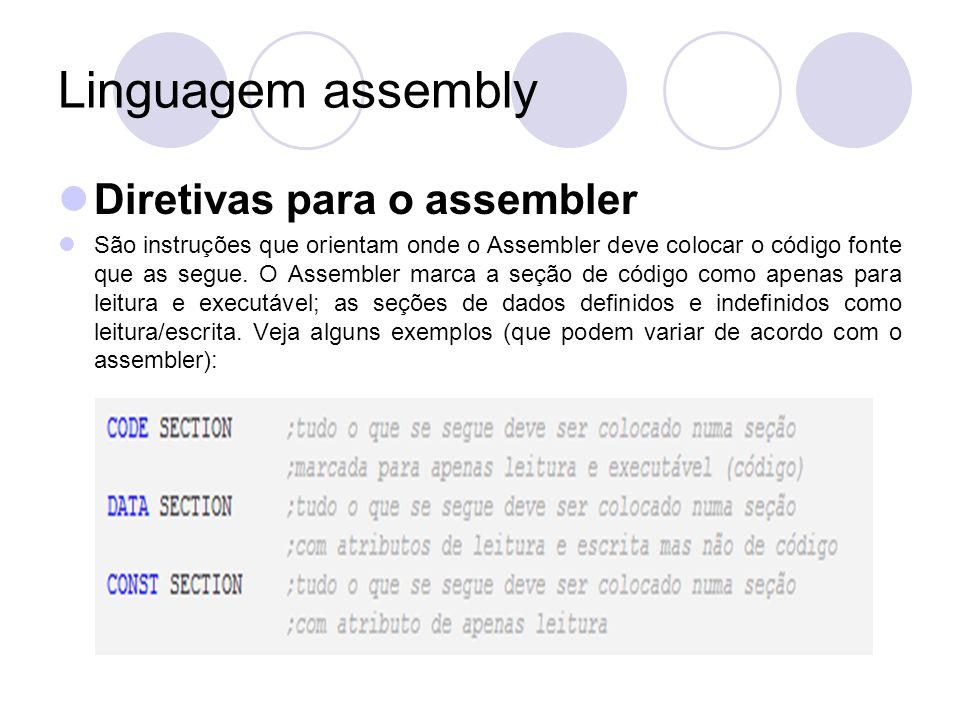 Linguagem assembly Diretivas para o assembler