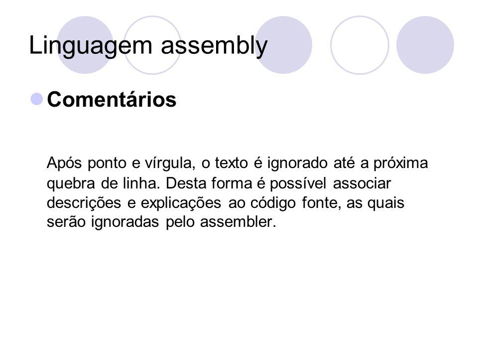 Linguagem assembly Comentários