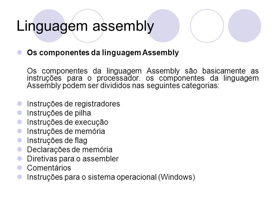 Linguagem assembly Os componentes da linguagem Assembly