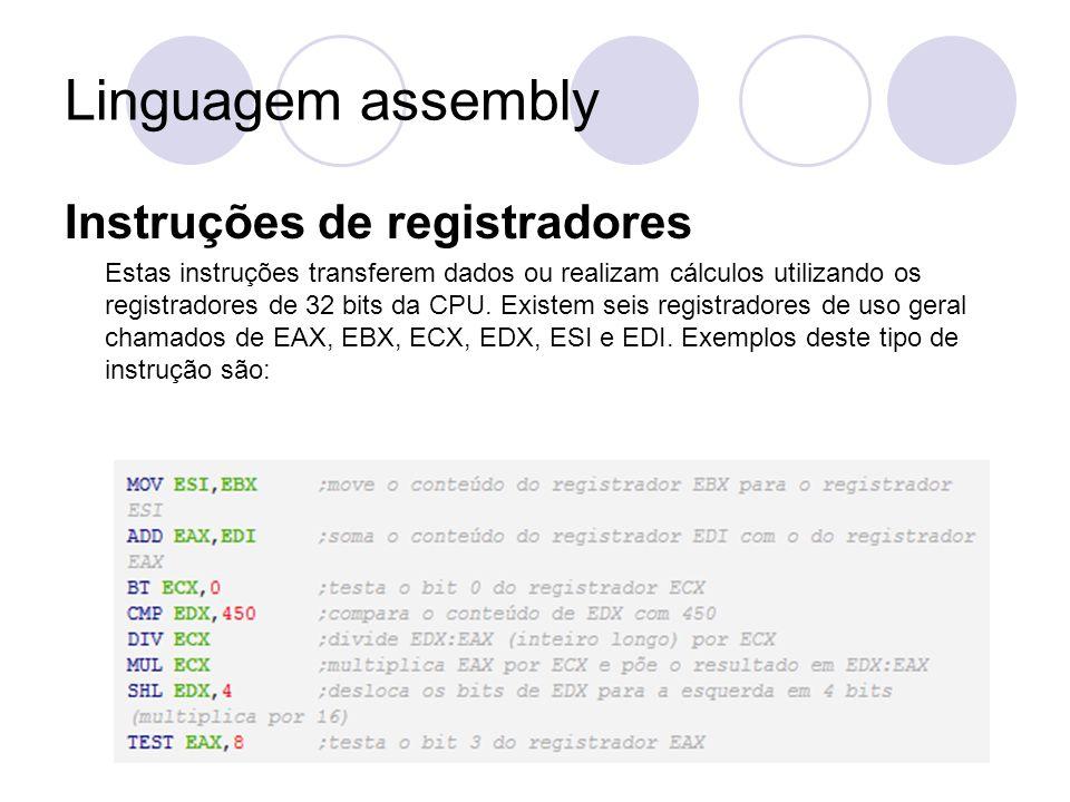 Linguagem assembly Instruções de registradores