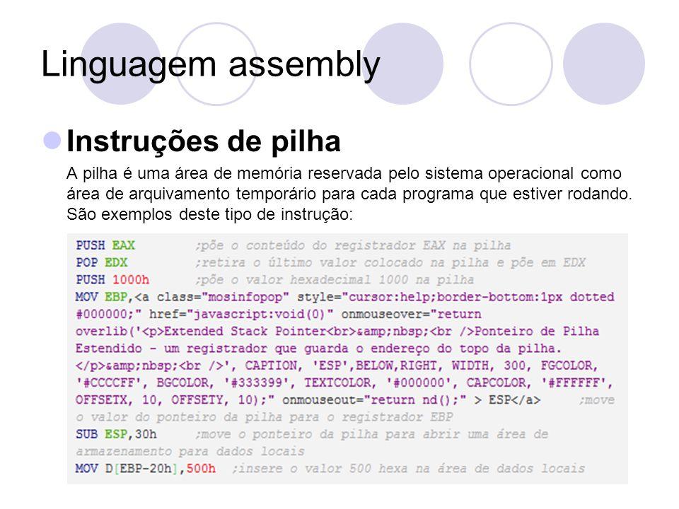 Linguagem assembly Instruções de pilha