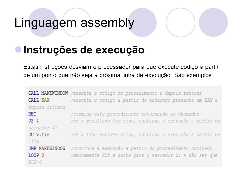 Linguagem assembly Instruções de execução