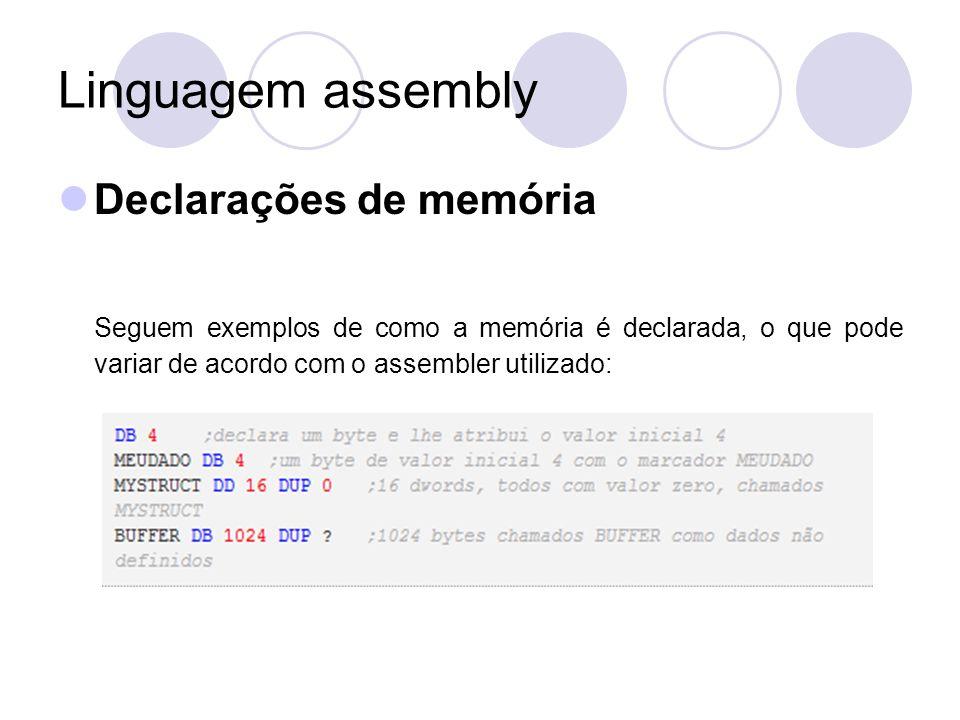 Linguagem assembly Declarações de memória