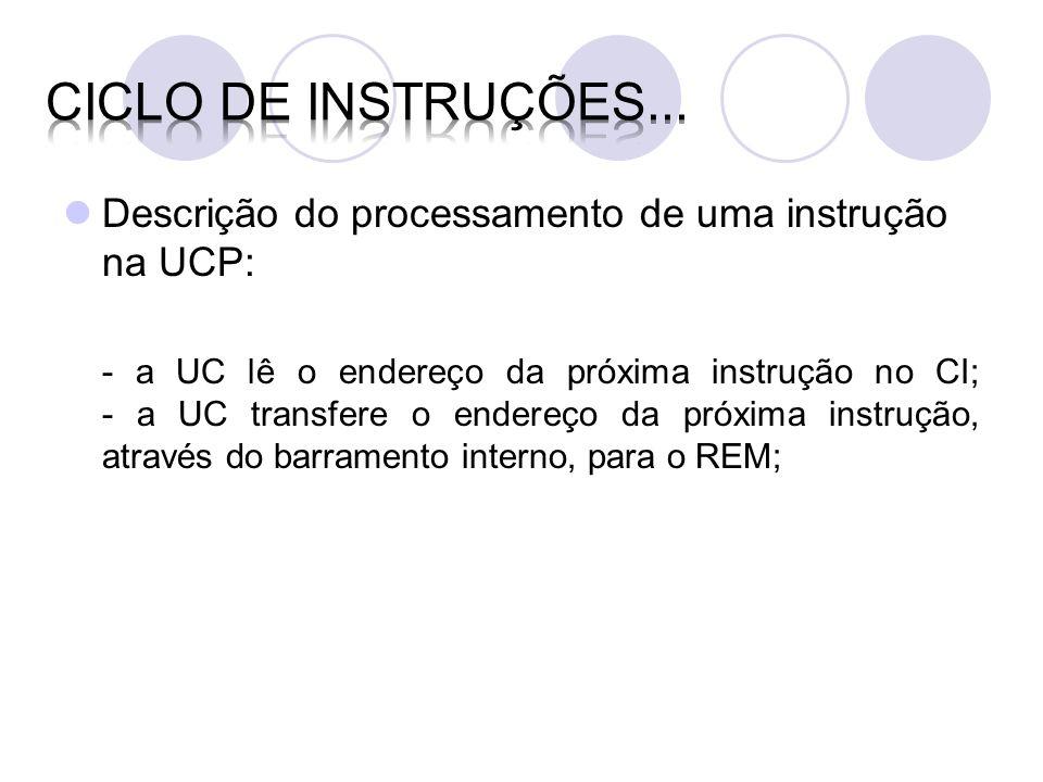 Ciclo de instruções... Descrição do processamento de uma instrução na UCP: