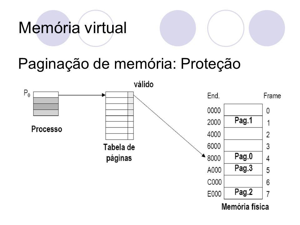Memória virtual Paginação de memória: Proteção