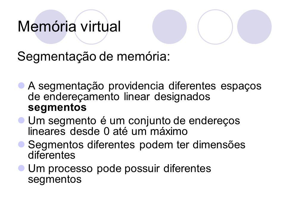 Memória virtual Segmentação de memória: