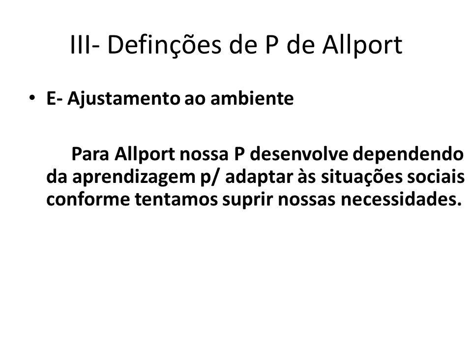III- Definções de P de Allport