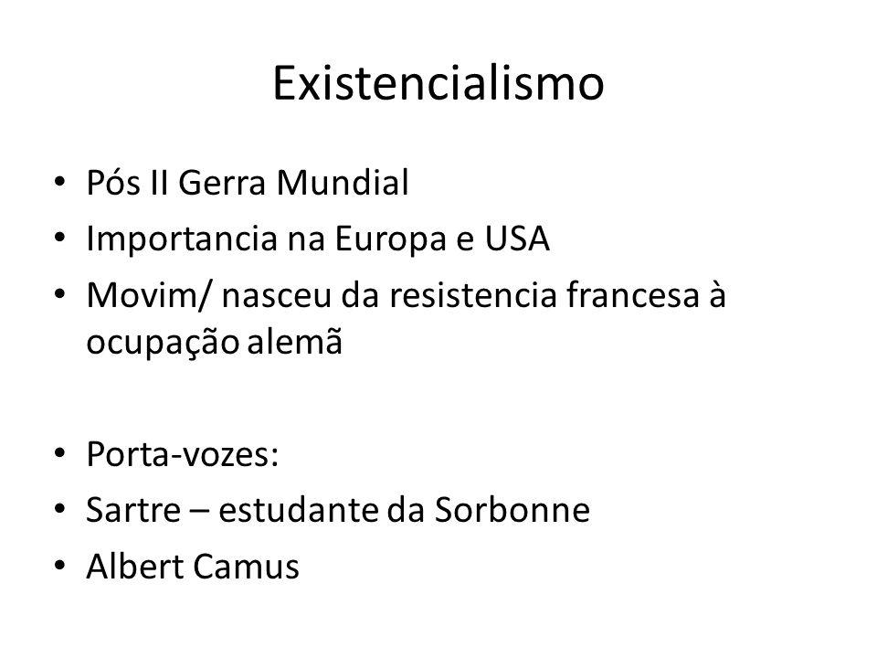 Existencialismo Pós II Gerra Mundial Importancia na Europa e USA