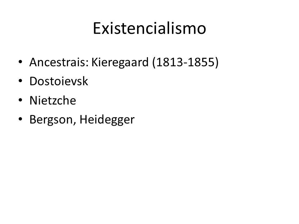 Existencialismo Ancestrais: Kieregaard (1813-1855) Dostoievsk Nietzche