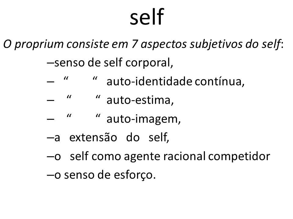 self O proprium consiste em 7 aspectos subjetivos do self: