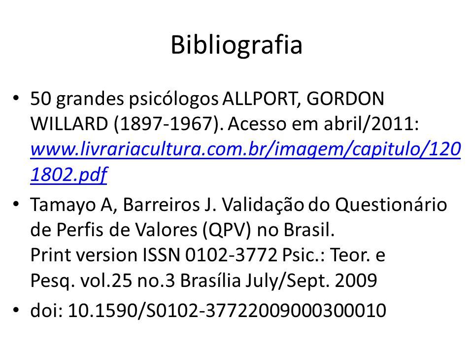 Bibliografia 50 grandes psicólogos ALLPORT, GORDON WILLARD (1897-1967). Acesso em abril/2011: www.livrariacultura.com.br/imagem/capitulo/1201802.pdf.