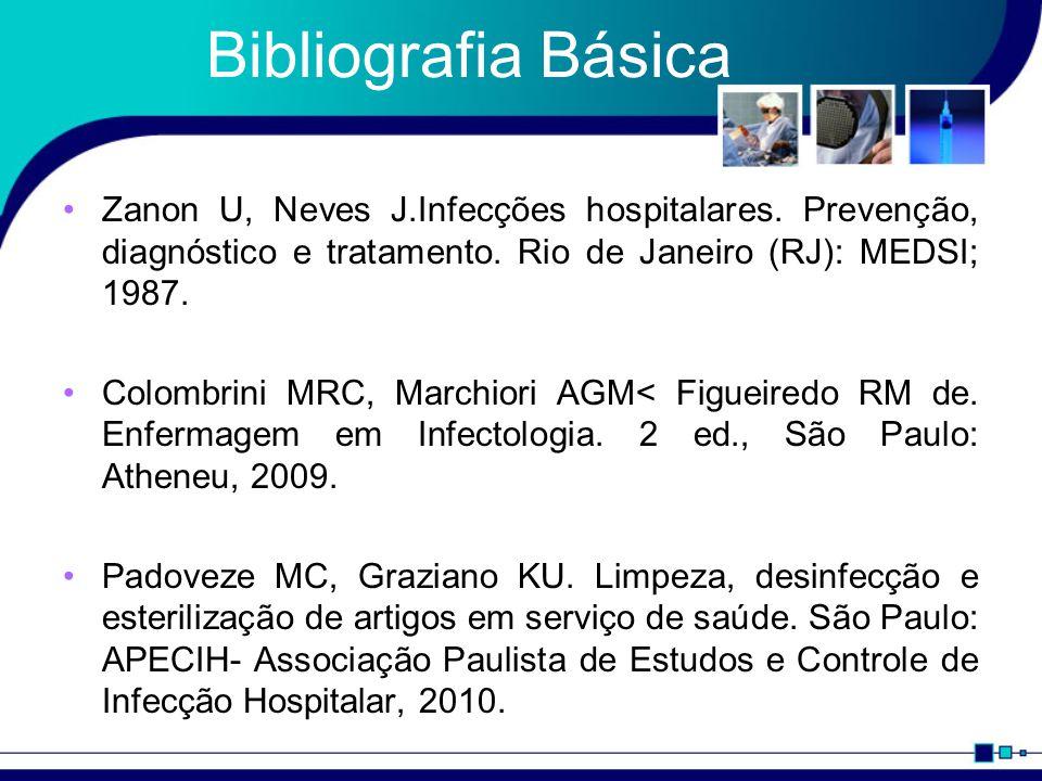 Bibliografia Básica Zanon U, Neves J.Infecções hospitalares. Prevenção, diagnóstico e tratamento. Rio de Janeiro (RJ): MEDSI; 1987.