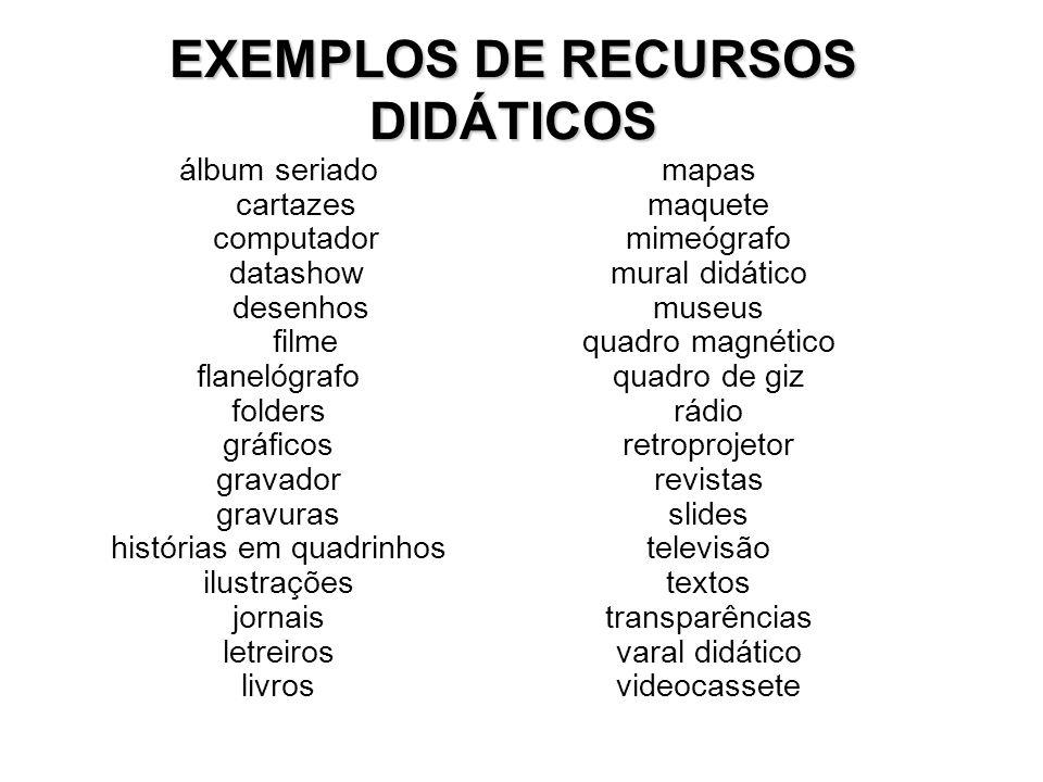 EXEMPLOS DE RECURSOS DIDÁTICOS