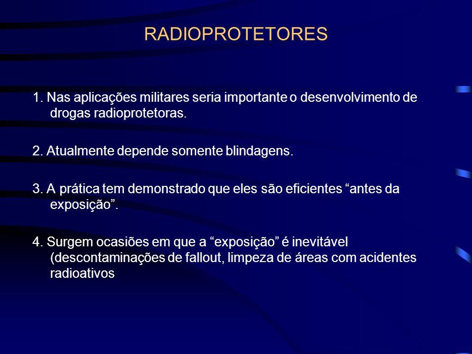RADIOPROTETORES 1. Nas aplicações militares seria importante o desenvolvimento de drogas radioprotetoras.