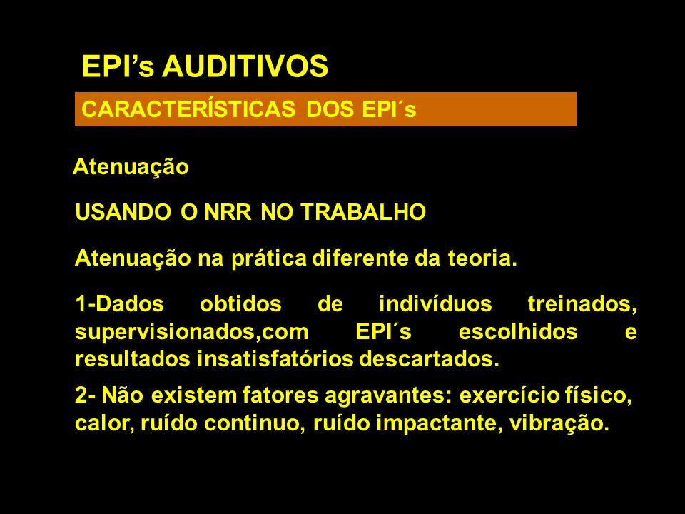 EPI's AUDITIVOS CARACTERÍSTICAS DOS EPI´s Atenuação