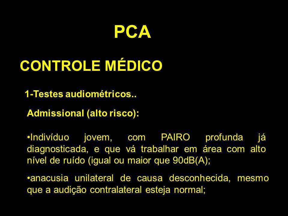 PCA CONTROLE MÉDICO 1-Testes audiométricos.. Admissional (alto risco):