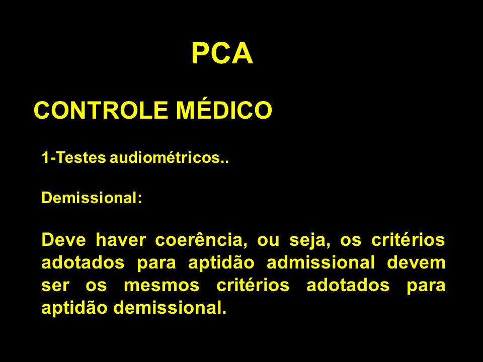 PCA CONTROLE MÉDICO. 1-Testes audiométricos.. Demissional: