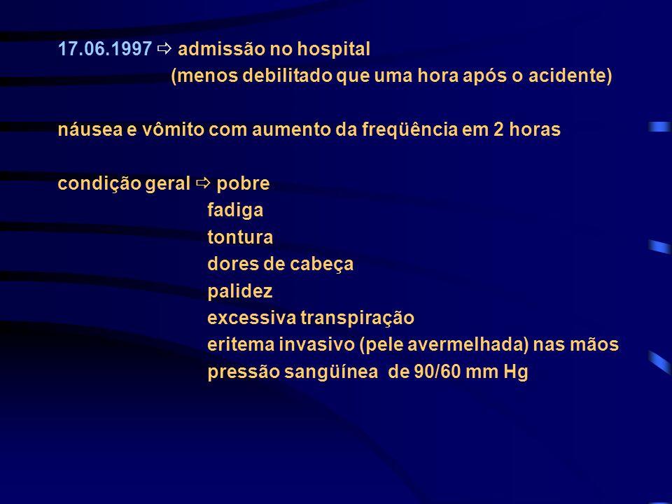 17.06.1997  admissão no hospital (menos debilitado que uma hora após o acidente) náusea e vômito com aumento da freqüência em 2 horas.