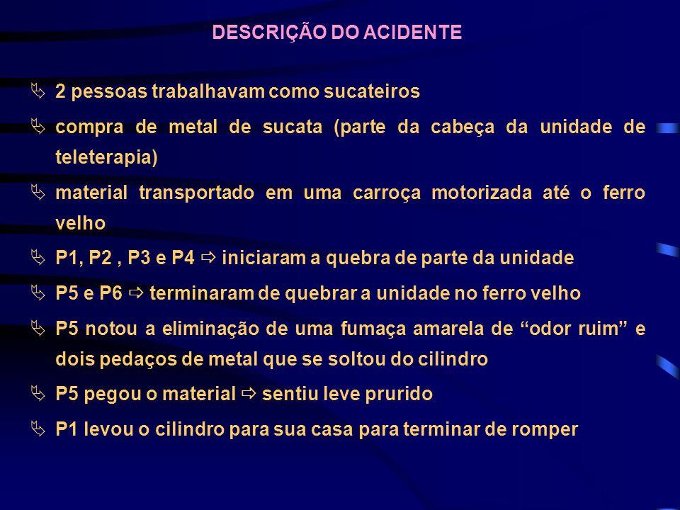 DESCRIÇÃO DO ACIDENTE 2 pessoas trabalhavam como sucateiros. compra de metal de sucata (parte da cabeça da unidade de teleterapia)