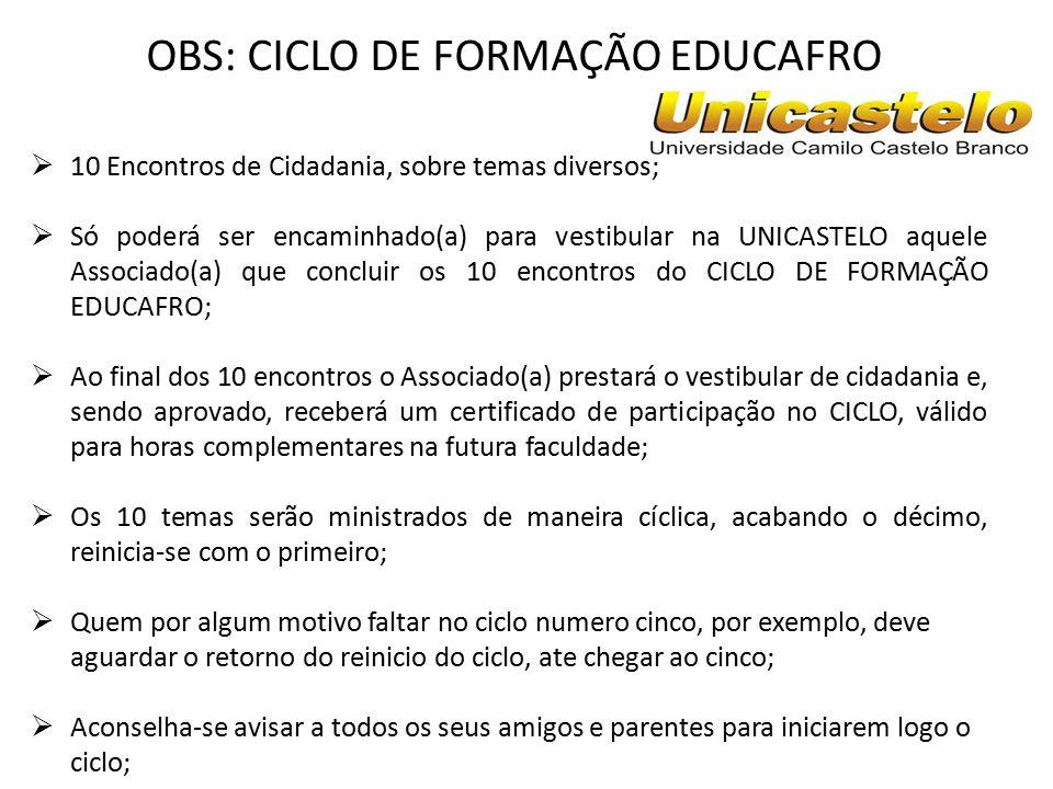 OBS: CICLO DE FORMAÇÃO EDUCAFRO