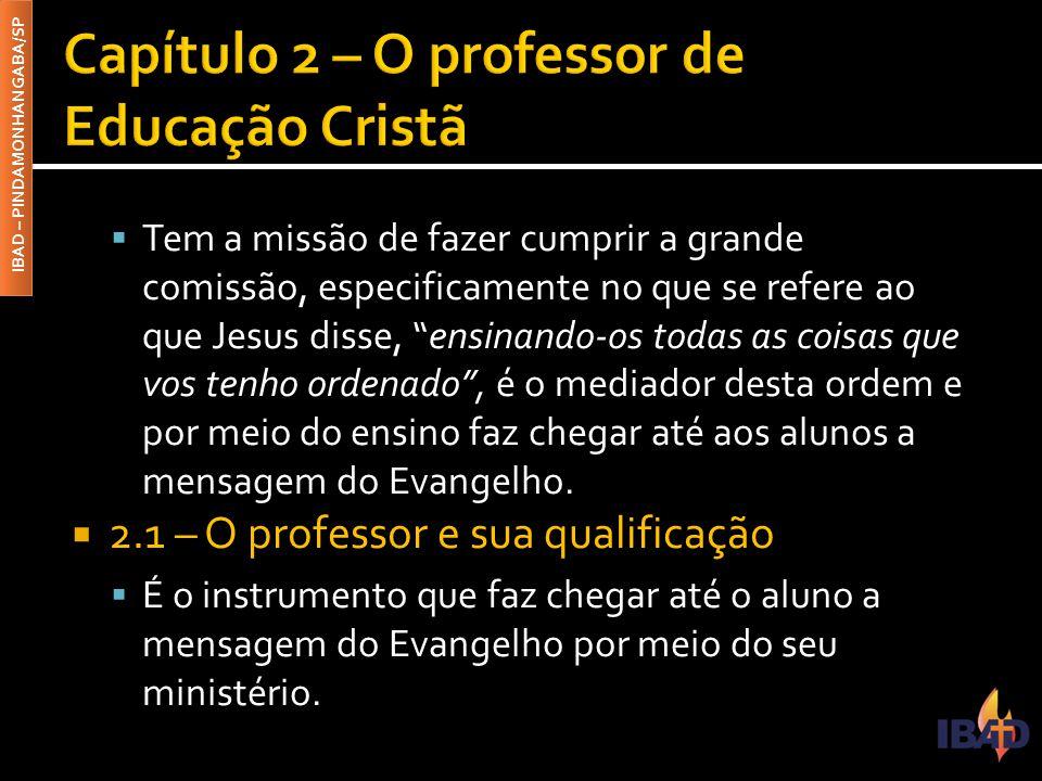 Capítulo 2 – O professor de Educação Cristã