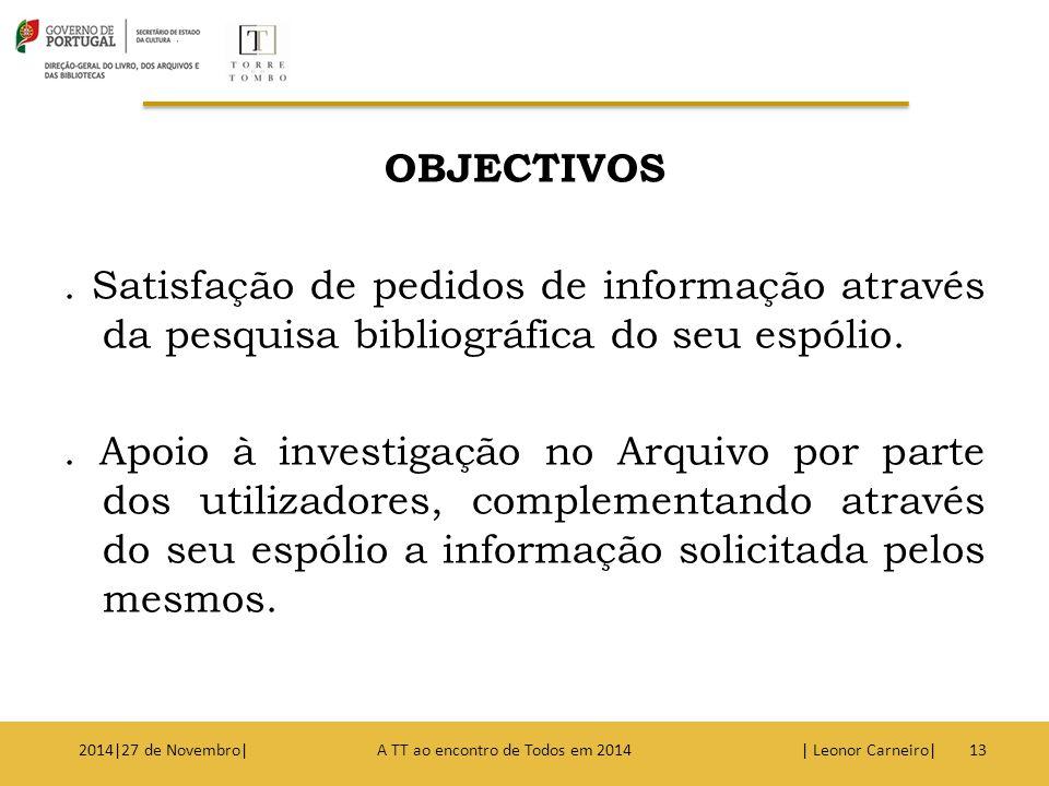 OBJECTIVOS . Satisfação de pedidos de informação através da pesquisa bibliográfica do seu espólio. . Apoio à investigação no Arquivo por parte dos utilizadores, complementando através do seu espólio a informação solicitada pelos mesmos.