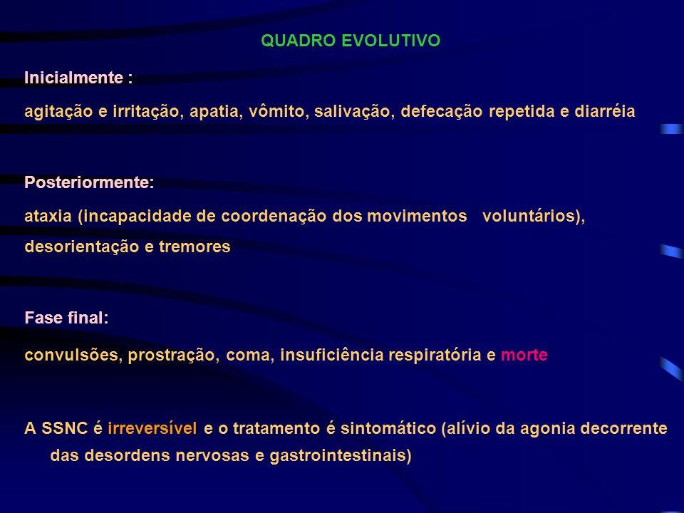 QUADRO EVOLUTIVOInicialmente : agitação e irritação, apatia, vômito, salivação, defecação repetida e diarréia.
